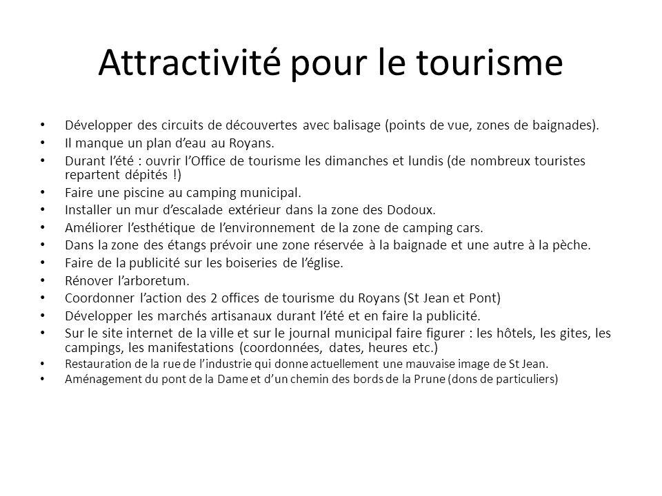 Attractivité pour le tourisme Développer des circuits de découvertes avec balisage (points de vue, zones de baignades). Il manque un plan deau au Roya