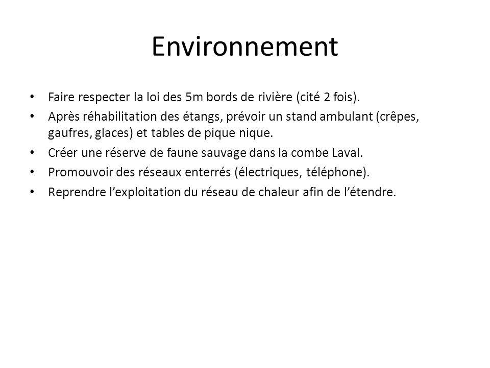 Environnement Faire respecter la loi des 5m bords de rivière (cité 2 fois). Après réhabilitation des étangs, prévoir un stand ambulant (crêpes, gaufre