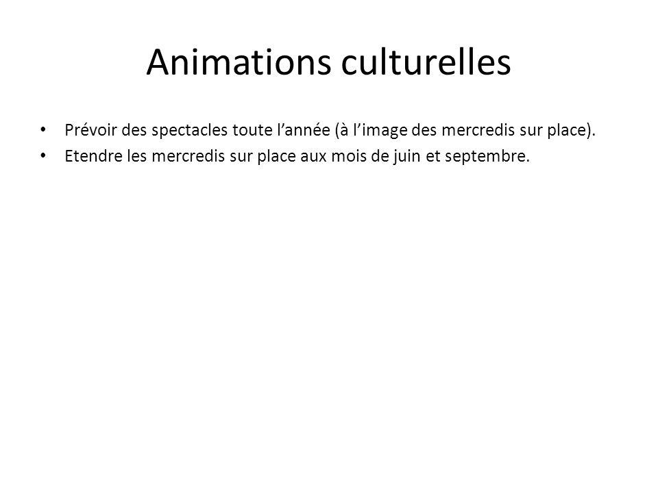 Animations culturelles Prévoir des spectacles toute lannée (à limage des mercredis sur place). Etendre les mercredis sur place aux mois de juin et sep