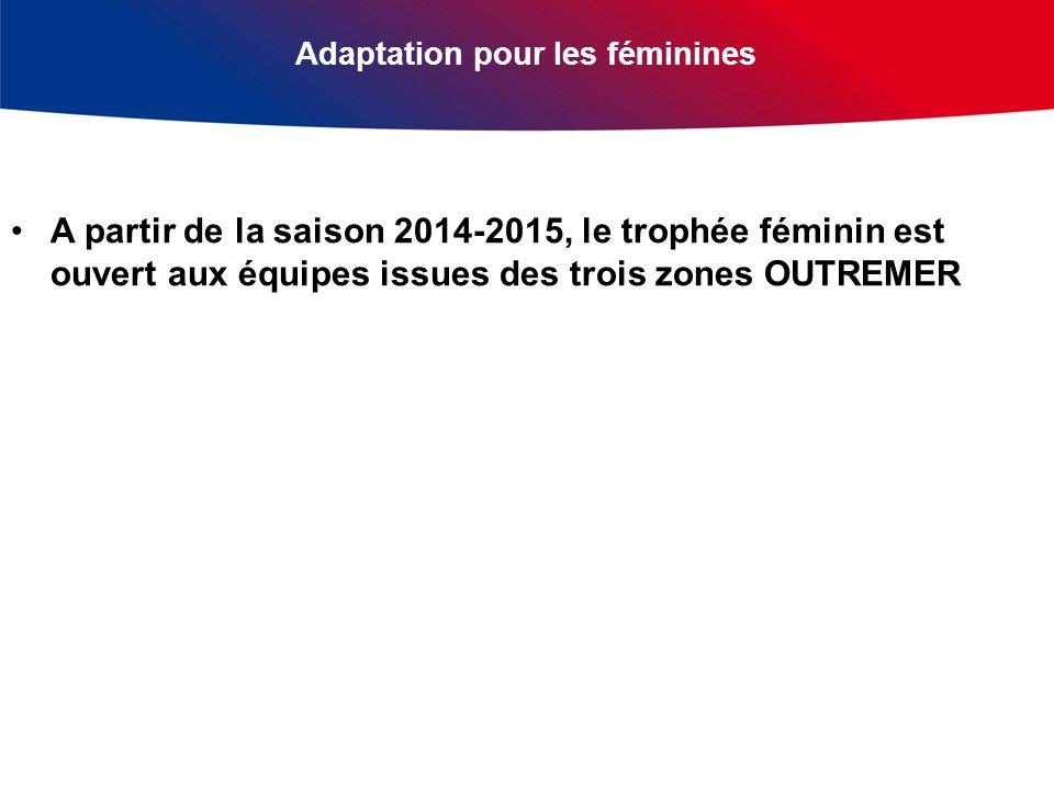 Adaptation pour les féminines A partir de la saison 2014-2015, le trophée féminin est ouvert aux équipes issues des trois zones OUTREMER