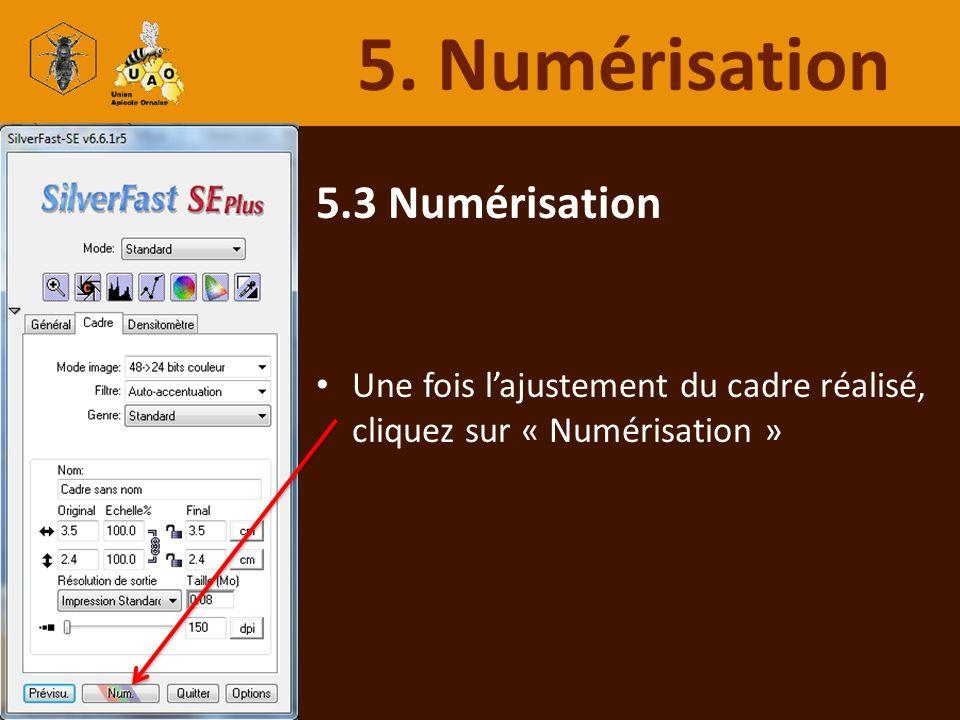 5.3 Numérisation Une fois lajustement du cadre réalisé, cliquez sur « Numérisation » 5. Numérisation