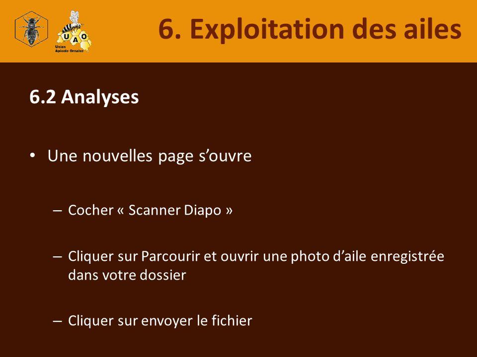 6.2 Analyses Une nouvelles page souvre – Cocher « Scanner Diapo » – Cliquer sur Parcourir et ouvrir une photo daile enregistrée dans votre dossier – C