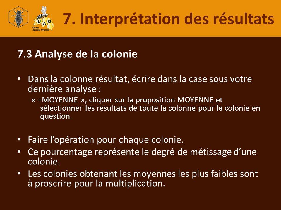 7.3 Analyse de la colonie Dans la colonne résultat, écrire dans la case sous votre dernière analyse : « =MOYENNE », cliquer sur la proposition MOYENNE