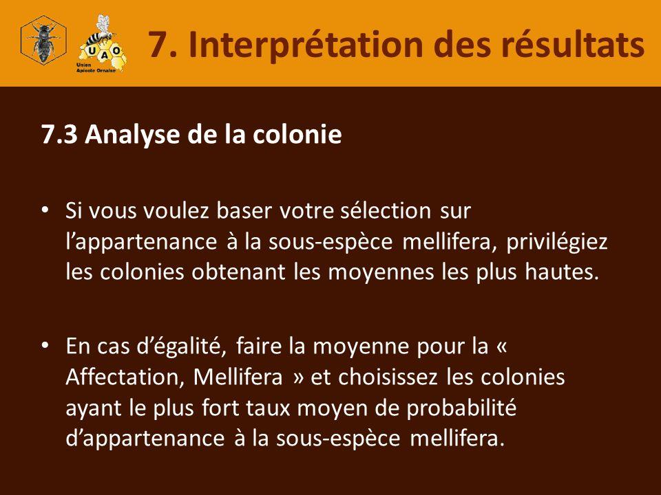 7.3 Analyse de la colonie Si vous voulez baser votre sélection sur lappartenance à la sous-espèce mellifera, privilégiez les colonies obtenant les moy