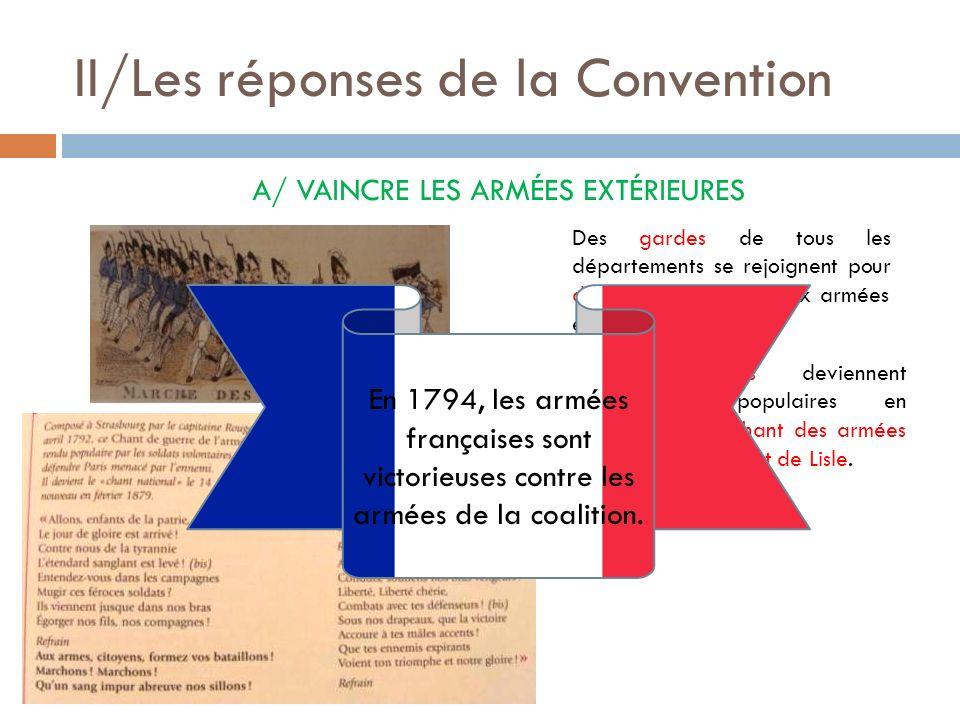 II/Les réponses de la Convention A/ VAINCRE LES ARMÉES EXTÉRIEURES Des gardes de tous les départements se rejoignent pour défendre Paris face aux armé