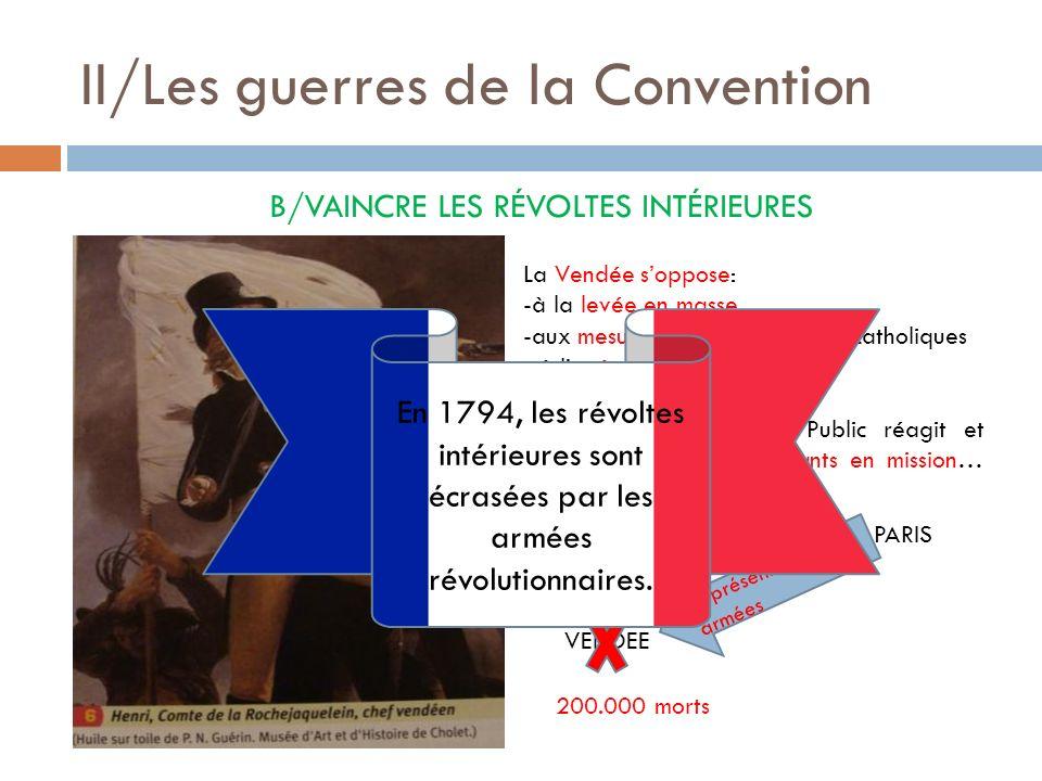 II/Les guerres de la Convention B/VAINCRE LES RÉVOLTES INTÉRIEURES La Vendée soppose: -à la levée en masse, -aux mesures contre les prêtres catholique