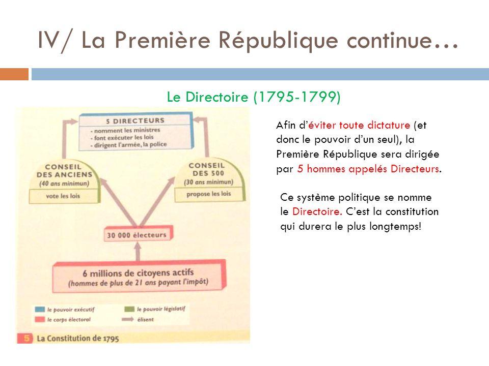 IV/ La Première République continue… Le Directoire (1795-1799) Afin déviter toute dictature (et donc le pouvoir dun seul), la Première République sera