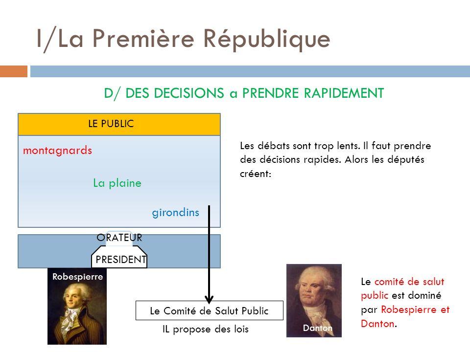 I/La Première République D/ DES DECISIONS a PRENDRE RAPIDEMENT montagnards girondins La plaine PRESIDENT ORATEUR LE PUBLIC Les débats sont trop lents.
