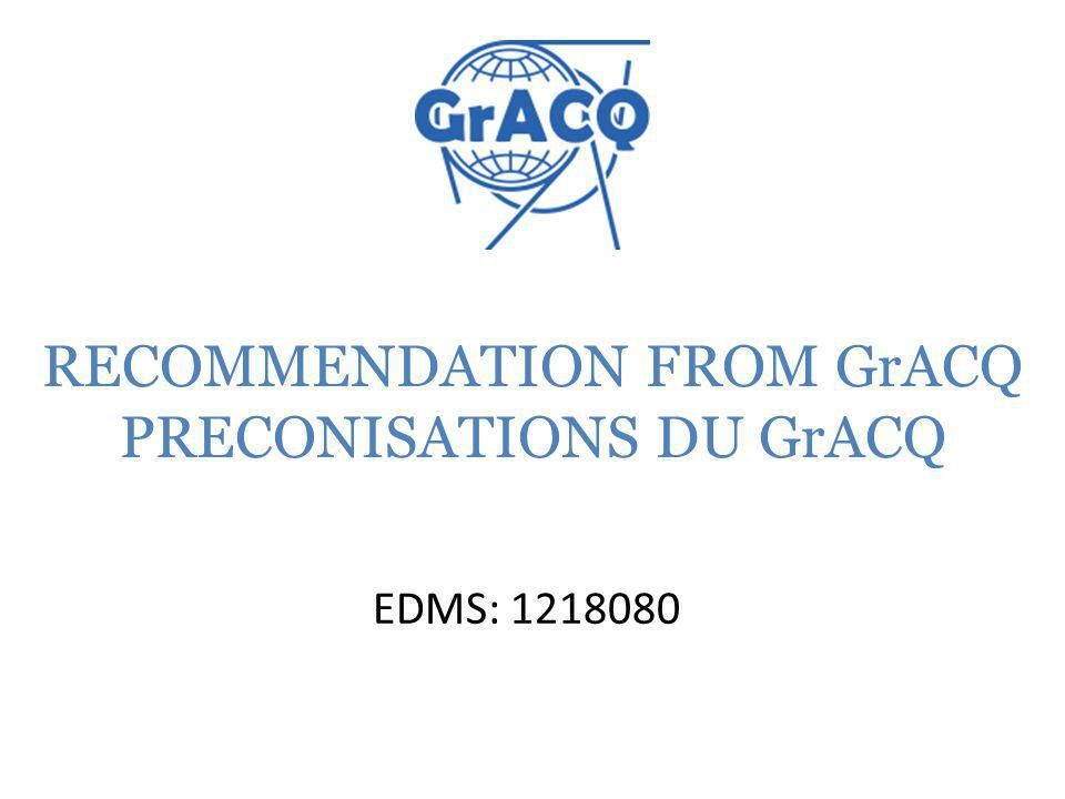 1.Commercial components The lifetime of an accelerator being long and to conserve the technical information of the components used: GRACQ requests to attach in SMARTEAM a PDF file of the component (for example: Technical result of supplier book page) to the item.