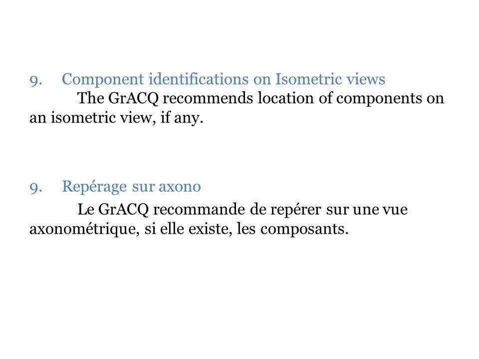 9. Component identifications on Isometric views The GrACQ recommends location of components on an isometric view, if any. 9. Repérage sur axono Le GrA