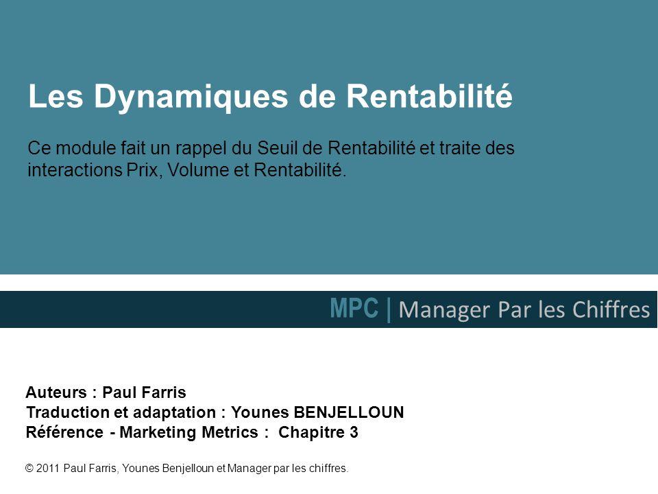 Les Dynamiques de Rentabilité Ce module fait un rappel du Seuil de Rentabilité et traite des interactions Prix, Volume et Rentabilité.