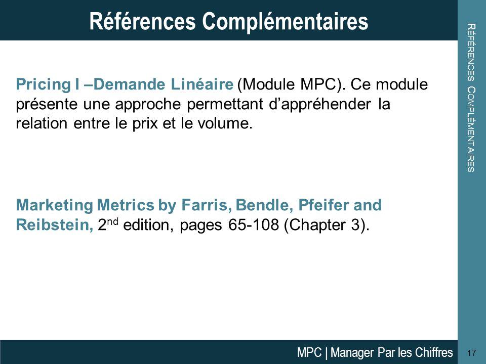 Pricing I –Demande Linéaire (Module MPC).