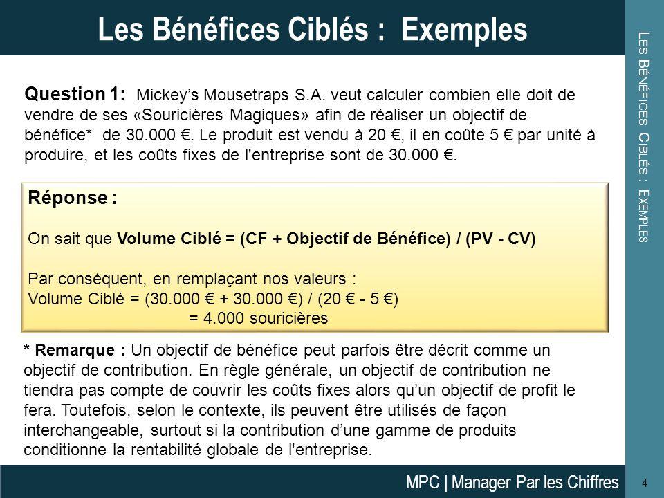 L ES B ÉNÉFICES C IBLÉS : E XEMPLES 4 Les Bénéfices Ciblés : Exemples Question 1: Mickeys Mousetraps S.A.