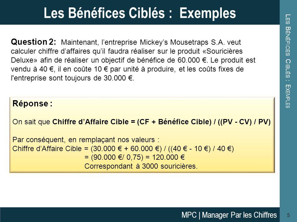 L ES B ÉNÉFICES C IBLÉS : E XEMPLES 5 Les Bénéfices Ciblés : Exemples Question 2: Maintenant, lentreprise Mickeys Mousetraps S.A.