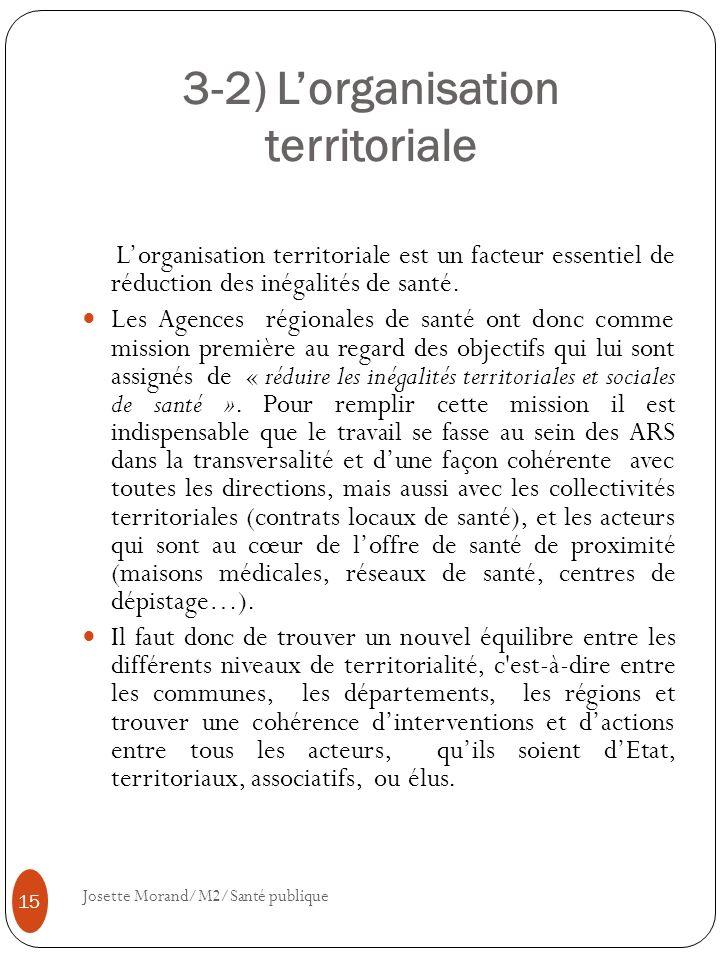 3-2) Lorganisation territoriale Lorganisation territoriale est un facteur essentiel de réduction des inégalités de santé. Les Agences régionales de sa
