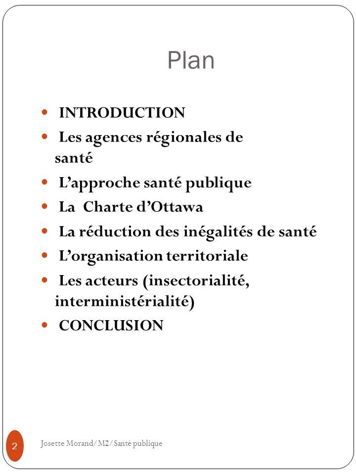 Plan INTRODUCTION Les agences régionales de santé Lapproche santé publique La Charte dOttawa La réduction des inégalités de santé Lorganisation territ