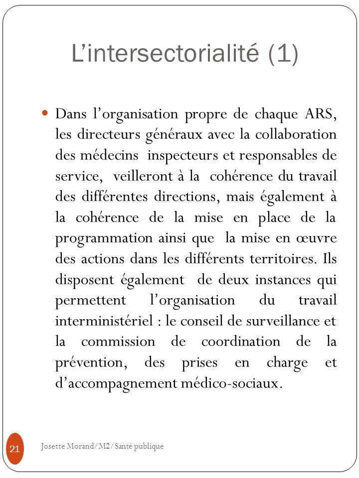 Lintersectorialité (1) Dans lorganisation propre de chaque ARS, les directeurs généraux avec la collaboration des médecins inspecteurs et responsables