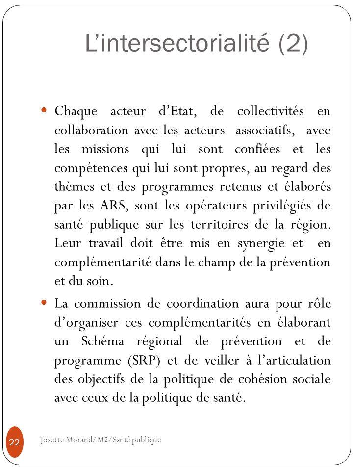 Lintersectorialité (2) Chaque acteur dEtat, de collectivités en collaboration avec les acteurs associatifs, avec les missions qui lui sont confiées et