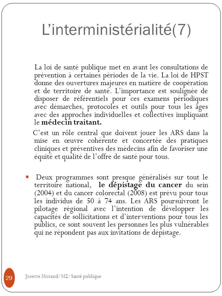 Linterministérialité(7) La loi de santé publique met en avant les consultations de prévention à certaines périodes de la vie. La loi de HPST donne des