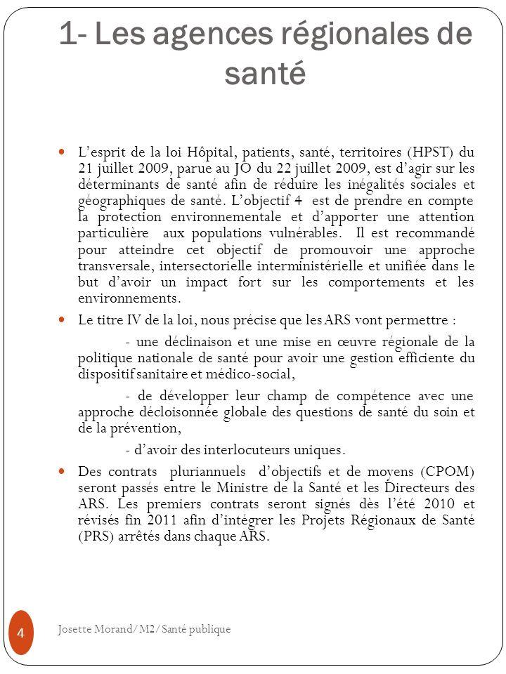 1- Les agences régionales de santé Lesprit de la loi Hôpital, patients, santé, territoires (HPST) du 21 juillet 2009, parue au JO du 22 juillet 2009,