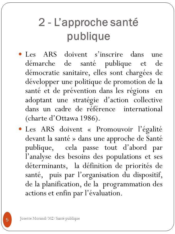 2 - Lapproche santé publique Les ARS doivent sinscrire dans une démarche de santé publique et de démocratie sanitaire, elles sont chargées de développ