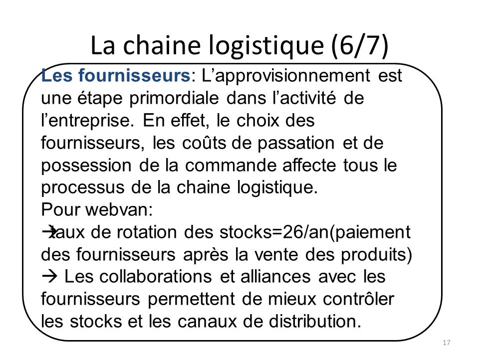 La chaine logistique (6/7) Les fournisseurs: Lapprovisionnement est une étape primordiale dans lactivité de lentreprise.