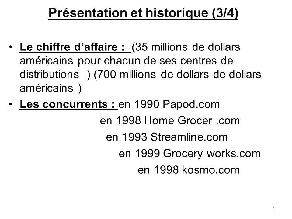 Présentation et historique (3/4) Le chiffre daffaire : (35 millions de dollars américains pour chacun de ses centres de distributions ) (700 millions de dollars de dollars américains ) Les concurrents : en 1990 Papod.com en 1998 Home Grocer.com en 1993 Streamline.com en 1999 Grocery works.com en 1998 kosmo.com 5