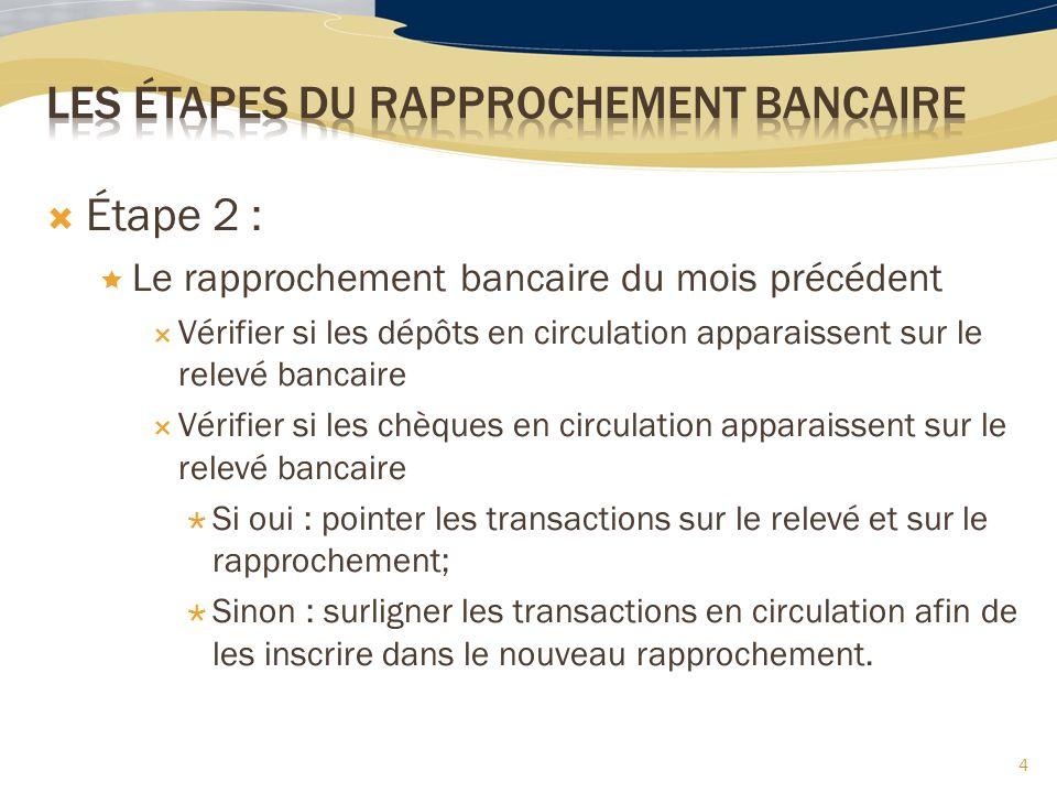 4 Étape 2 : Le rapprochement bancaire du mois précédent Vérifier si les dépôts en circulation apparaissent sur le relevé bancaire Vérifier si les chèq