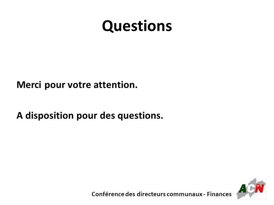 Conférence des directeurs communaux - Finances Questions Merci pour votre attention. A disposition pour des questions.