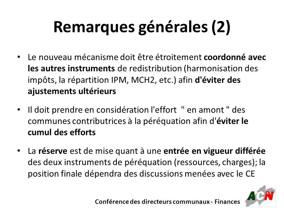 Conférence des directeurs communaux - Finances Remarques générales (2) Le nouveau mécanisme doit être étroitement coordonné avec les autres instrument