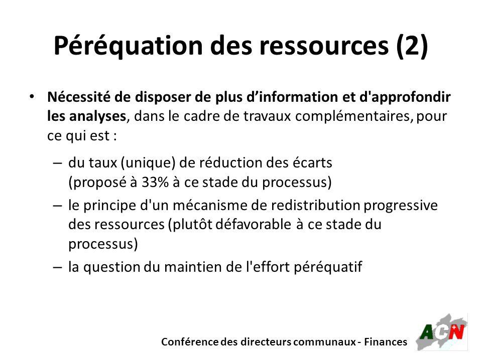 Conférence des directeurs communaux - Finances Péréquation des ressources (2) Nécessité de disposer de plus dinformation et d'approfondir les analyses
