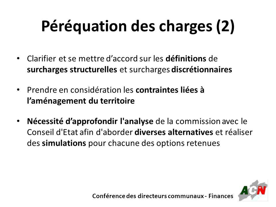 Conférence des directeurs communaux - Finances Péréquation des charges (2) Clarifier et se mettre daccord sur les définitions de surcharges structurel