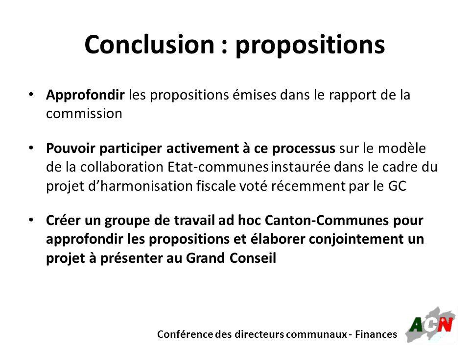Conférence des directeurs communaux - Finances Conclusion : propositions Approfondir les propositions émises dans le rapport de la commission Pouvoir