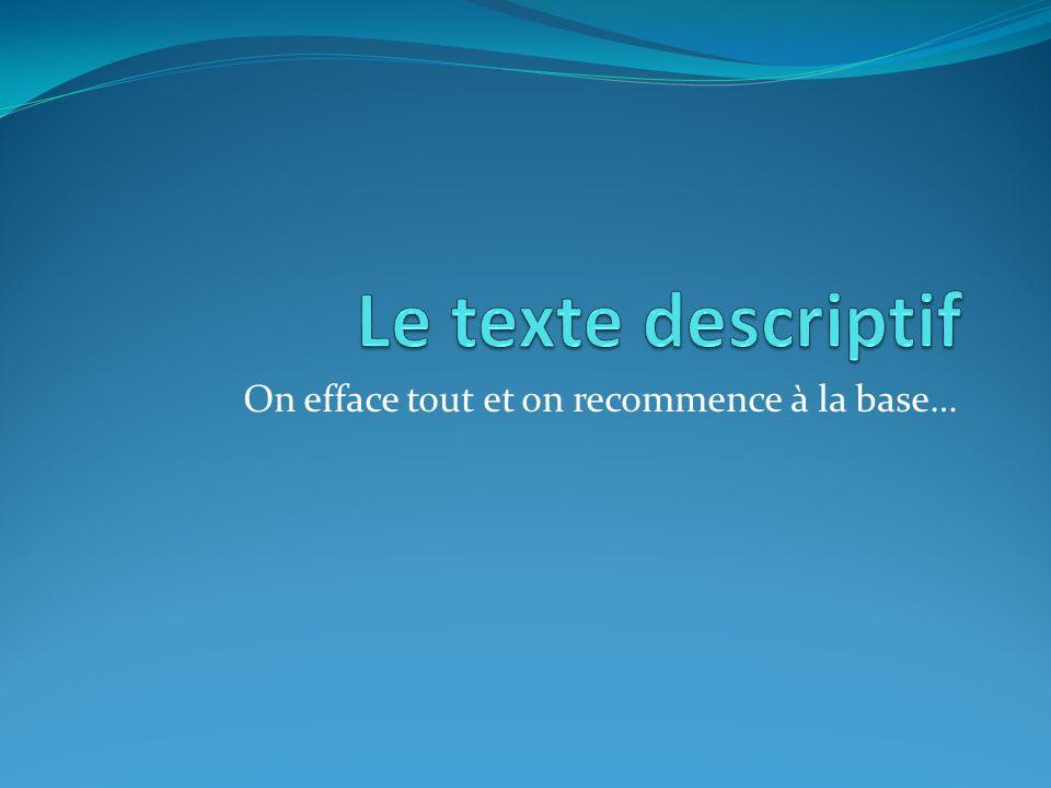 Exemples de textes descriptifs Dans la vie de tous les jours, on entre souvent en contact avec des textes descriptifs.