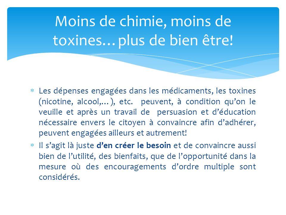 Les dépenses engagées dans les médicaments, les toxines (nicotine, alcool,…), etc.