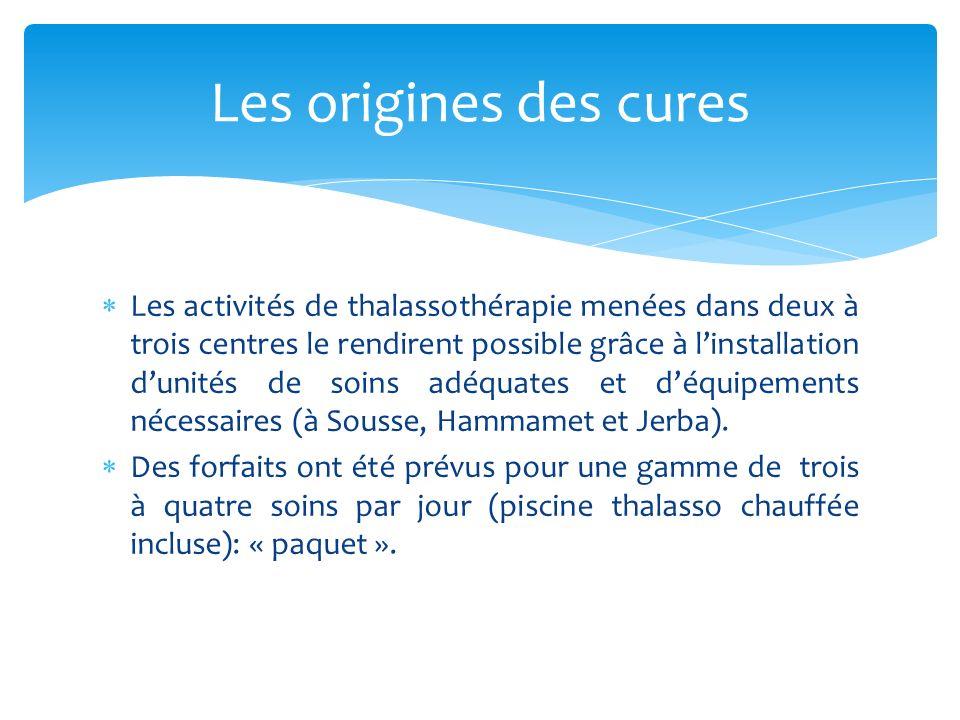 Les activités de thalassothérapie menées dans deux à trois centres le rendirent possible grâce à linstallation dunités de soins adéquates et déquipements nécessaires (à Sousse, Hammamet et Jerba).