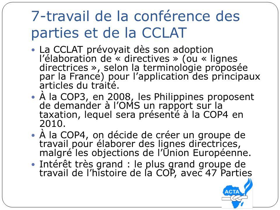 7-travail de la conférence des parties et de la CCLAT La CCLAT prévoyait dès son adoption lélaboration de « directives » (ou « lignes directrices », s