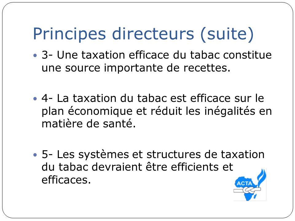 Principes directeurs (suite) 6- Les politiques de taxation du tabac ne devraient pas être influencées par des intérêts catégoriels (intérêts commerciaux et autres de lindustrie du tabac consistant à utiliser la question de la contrebande pour empêcher la mise en œuvre des politiques fiscales et des politiques de prix; art 5.3)