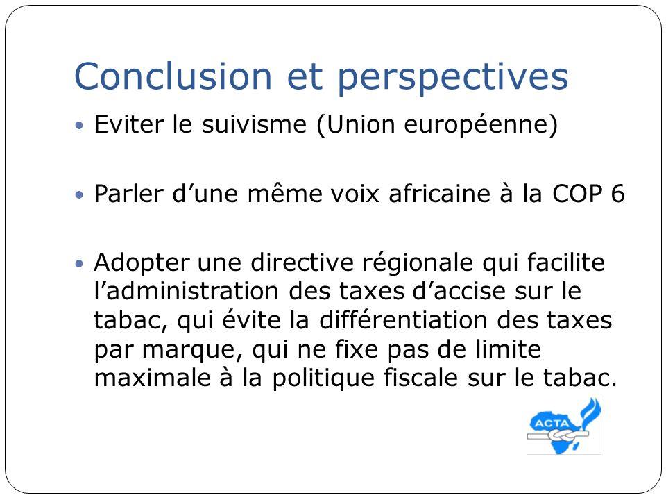 Conclusion et perspectives Eviter le suivisme (Union européenne) Parler dune même voix africaine à la COP 6 Adopter une directive régionale qui facili