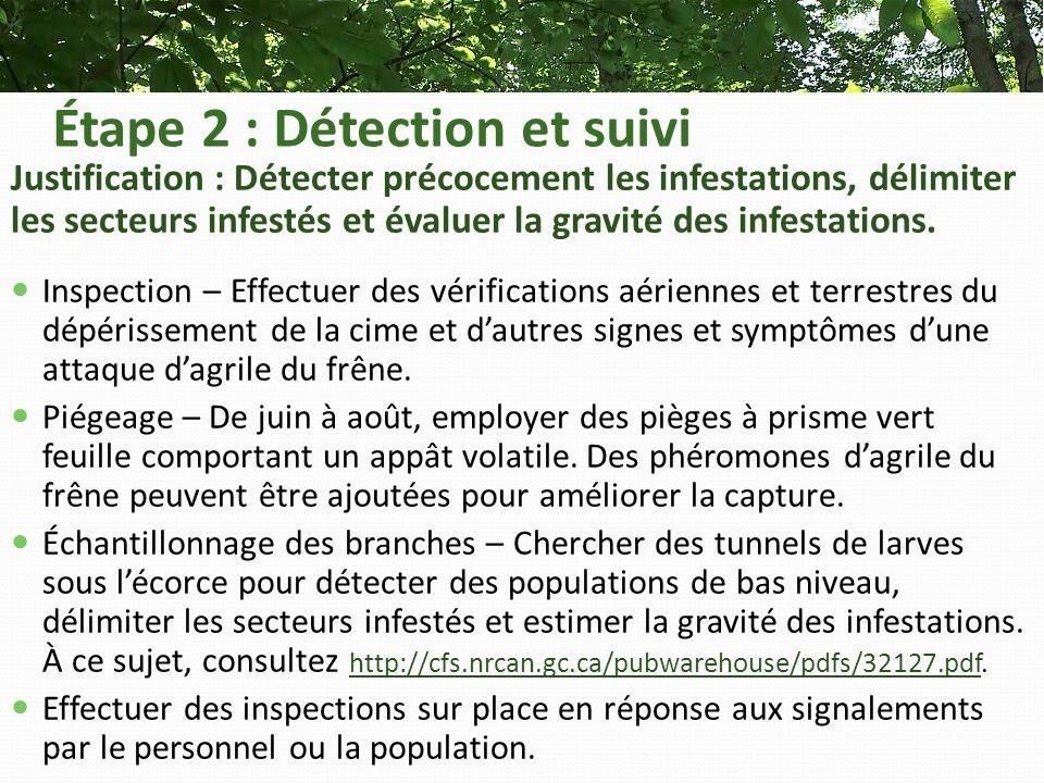 Étape 2 : Détection et suivi Justification : Détecter précocement les infestations, délimiter les secteurs infestés et évaluer la gravité des infestations.