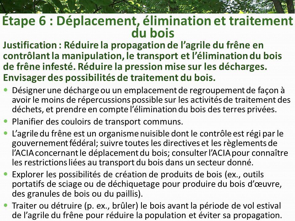 Étape 6 : Déplacement, élimination et traitement du bois Justification : Réduire la propagation de lagrile du frêne en contrôlant la manipulation, le transport et lélimination du bois de frêne infesté.