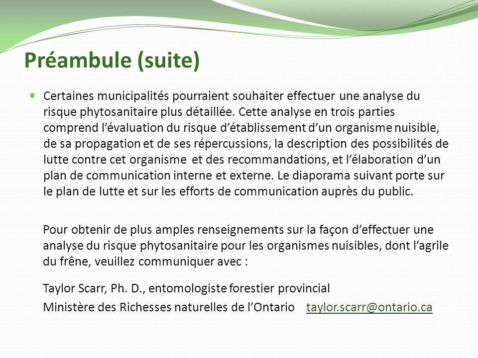 Préambule (suite) Certaines municipalités pourraient souhaiter effectuer une analyse du risque phytosanitaire plus détaillée.