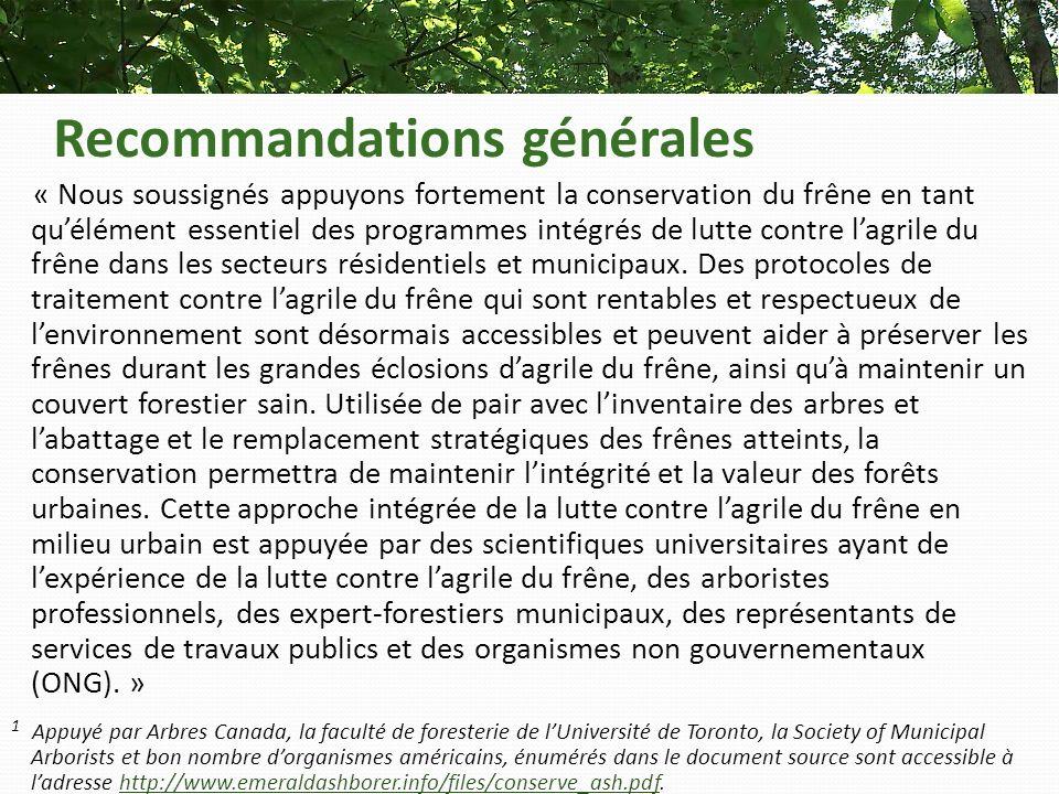 Recommandations générales « Nous soussignés appuyons fortement la conservation du frêne en tant quélément essentiel des programmes intégrés de lutte contre lagrile du frêne dans les secteurs résidentiels et municipaux.