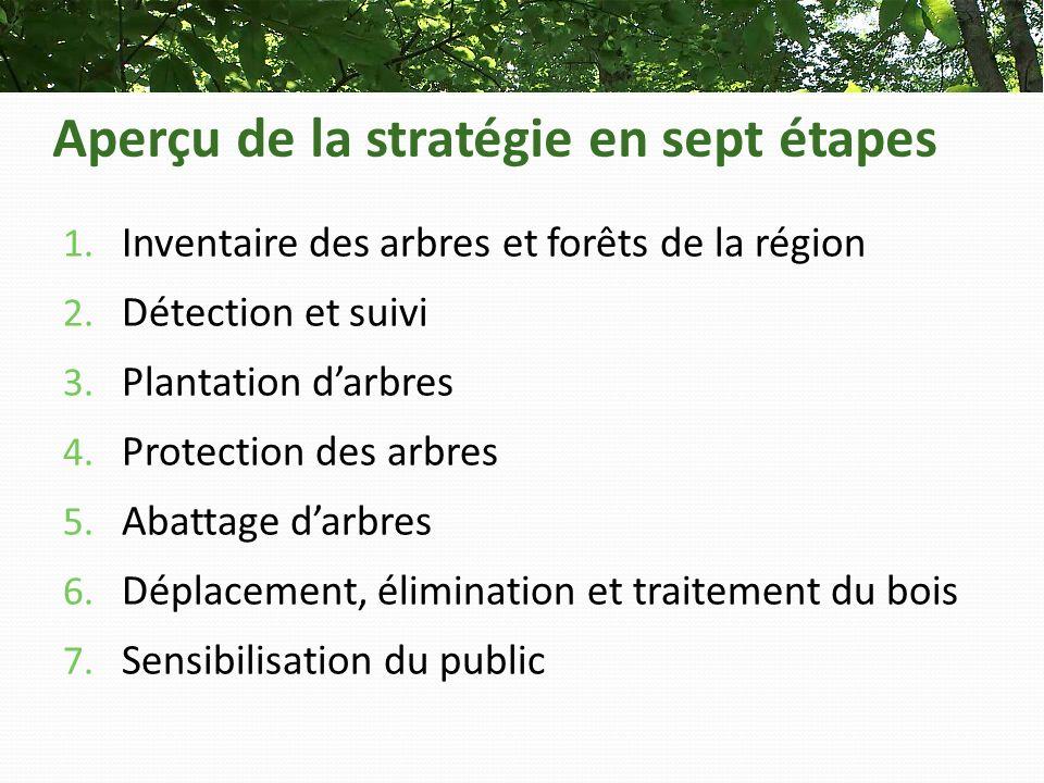 Aperçu de la stratégie en sept étapes 1. Inventaire des arbres et forêts de la région 2.