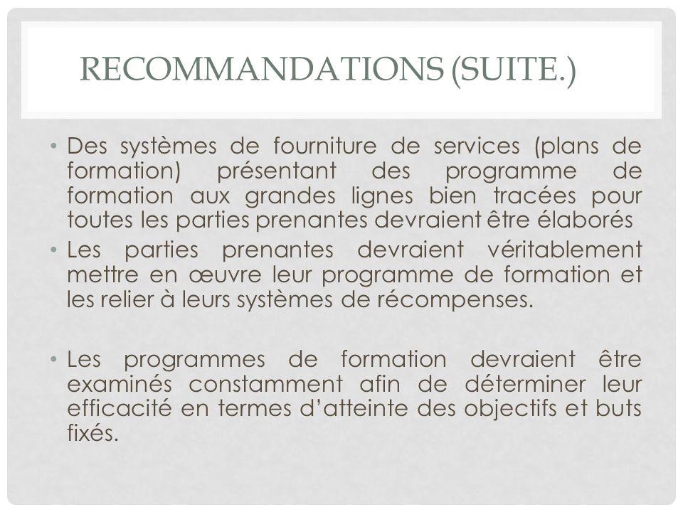 RECOMMANDATIONS (SUITE.) Des systèmes de fourniture de services (plans de formation) présentant des programme de formation aux grandes lignes bien tra