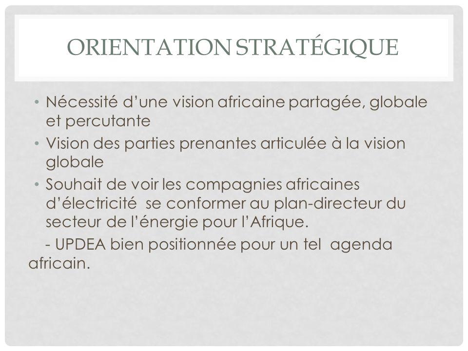 ORIENTATION STRATÉGIQUE Nécessité dune vision africaine partagée, globale et percutante Vision des parties prenantes articulée à la vision globale Sou