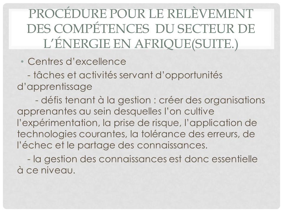PROCÉDURE POUR LE RELÈVEMENT DES COMPÉTENCES DU SECTEUR DE LÉNERGIE EN AFRIQUE(SUITE.) Centres dexcellence - tâches et activités servant dopportunités