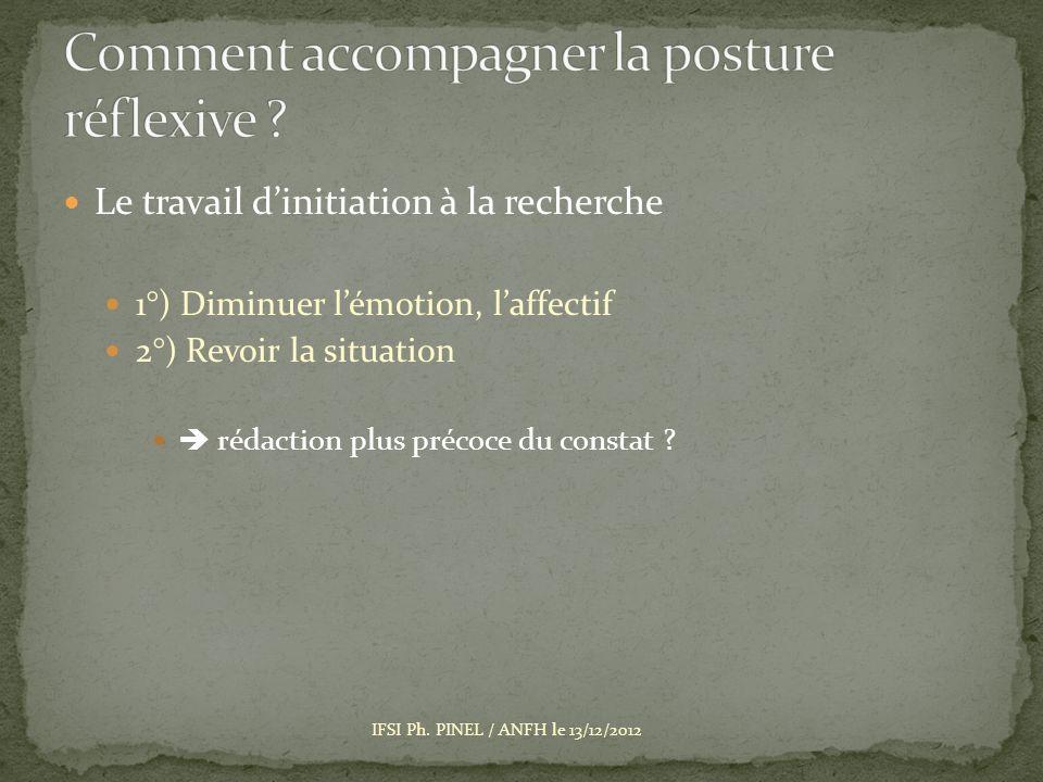Le travail dinitiation à la recherche 1°) Diminuer lémotion, laffectif 2°) Revoir la situation rédaction plus précoce du constat .