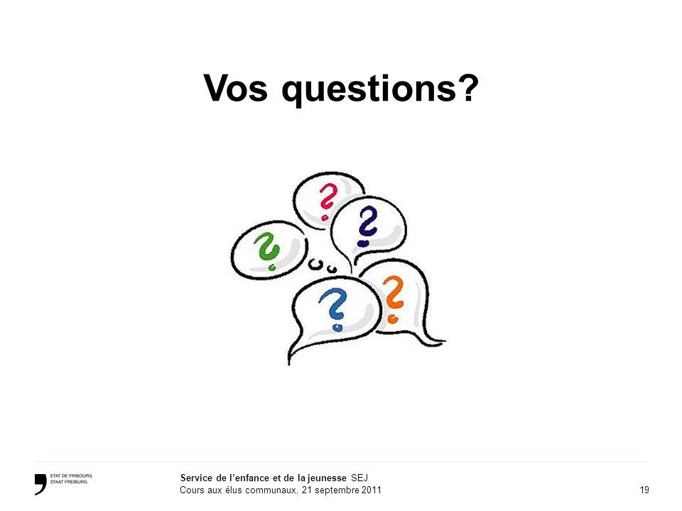 19 Service de lenfance et de la jeunesse SEJ Cours aux élus communaux, 21 septembre 2011 Vos questions?
