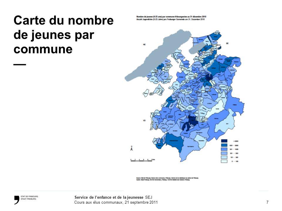7 Service de lenfance et de la jeunesse SEJ Cours aux élus communaux, 21 septembre 2011 Carte du nombre de jeunes par commune